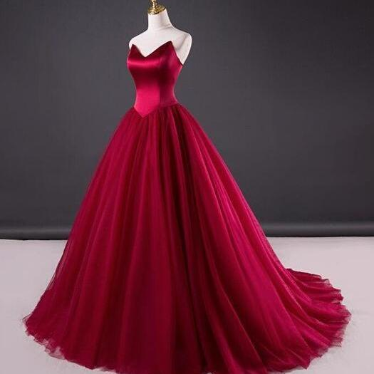 P3420 Simple Red Wedding Dress,Tulle Bridal Dress,Mermaid Wedding Dresses,Ball Gown Wine Red Prom Dress,Strapless Red Formal Dress