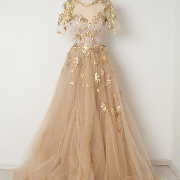 P3423 2021 Gold Appliques Champagne Tulle Prom Dresses,A-line Short Sleeves Long Prom Evening Dresses