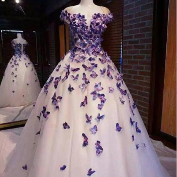 P3424 Purple Butterfly Appliques Ball Quinceanera Dress Birthday Party Sweet 16 Gown