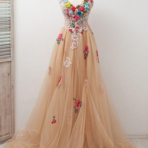 P3599 A-line Scoop Sleeveless Open Back Appliques Tulle Prom Dress with Hand-Made Flowers