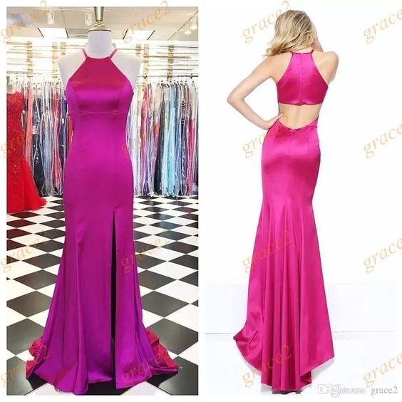Sexy Split Prom Dresses, 2017 Halter Neck and Keyhole Back Evening Dress