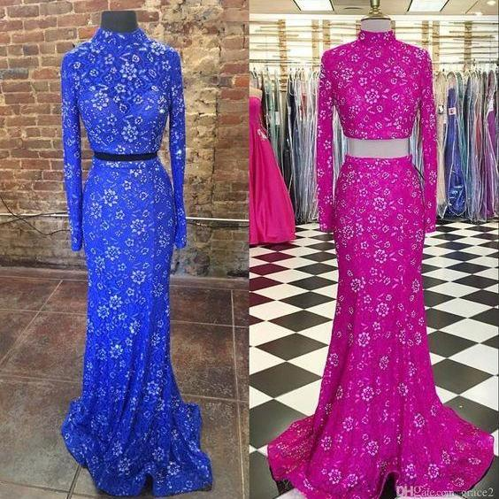High Collar Prom Dresses 2017 Styles with Long Sleeves and Sweep Train Real Pictures Bling Two Pieces Pageant Dress Custom Made Royal Blue