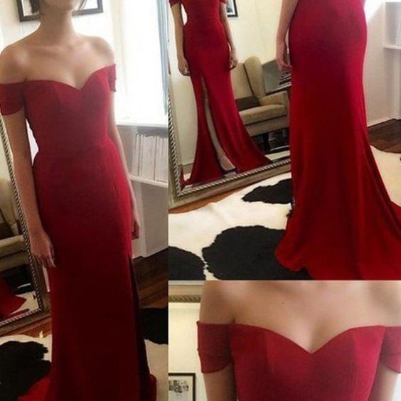 Simple Red Carpet Dress For Evening Party Sweetheart Off Shoulder Cheapest Formal Prom Night Dress