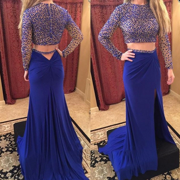 Charming Prom Dress,2 Pieces Prom Dress,Long-Sleeves Prom Dress,Beading Evening Dress