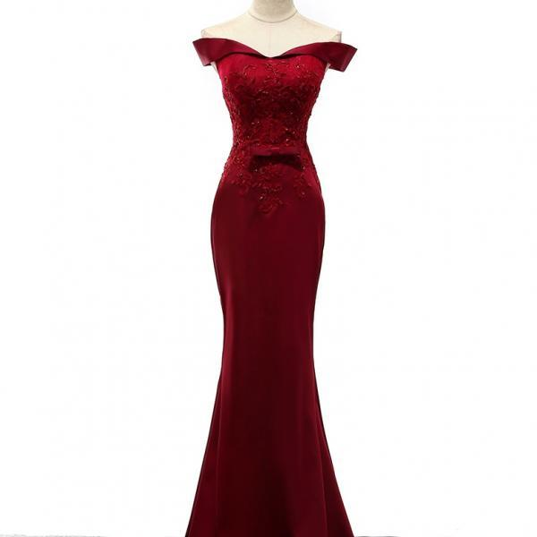 Burgundy Prom Dresses,Mermaid Prom Dresses,Lace Prom Dresses,Evening Gowns,Lace Up Prom Dresses,Boat Neckline Prom Dresses,Long Prom Dresses,Simple Prom Dresses,Cheap Prom Dresses,Sexy Prom Dresses,Prom Dresses 2017
