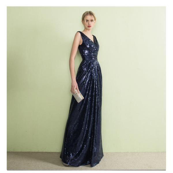 Navy Blue Prom Dresses,Sparkly Prom Dresses,Long Prom Dresses,Modest Prom Dresses,Prom Dresses For Teens,Evening Dresses,Prom Gowns,High Low Prom Dresses,V-neck Prom Dresses,Women Dresses