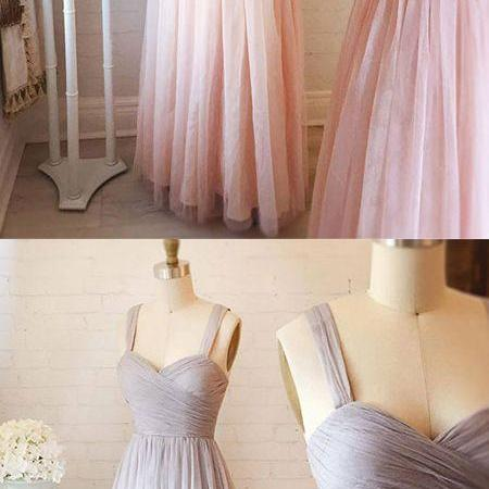 Cute A-Line Sweetheart Neck Tulle Pink Long Prom/Evening Dress
