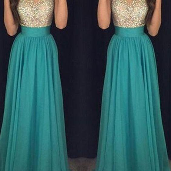 Prom Dress,Long Custom Prom Dress,Turquoise prom dress, See through prom dress, Beading prom dresses, A-line prom dress, Prom dress for teens, Modest prom dress