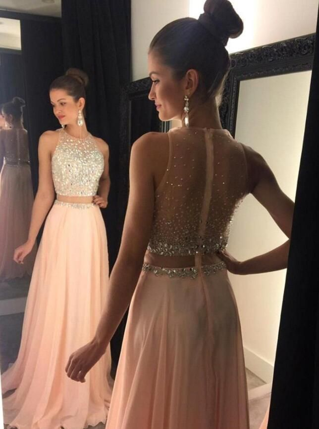 2017 Long Prom Dresstwo Piece Prom Dresseszipper Back Evening