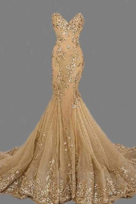 Fashion Sexy Gold Sweetheart Long Prom Dresshandmade Gold Formal